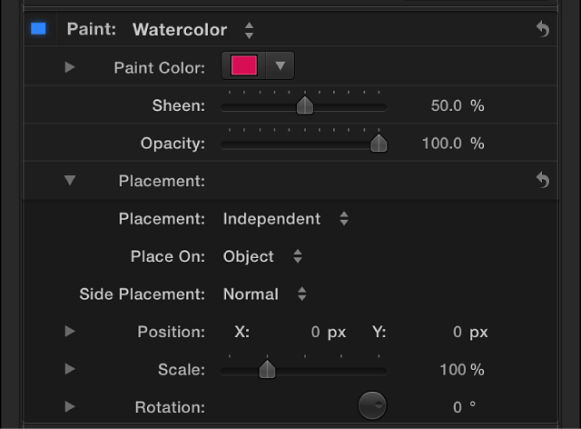 3D Text Inspector showing Placement options