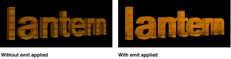 Viewer showing 3D title with emit layer and without emit layer