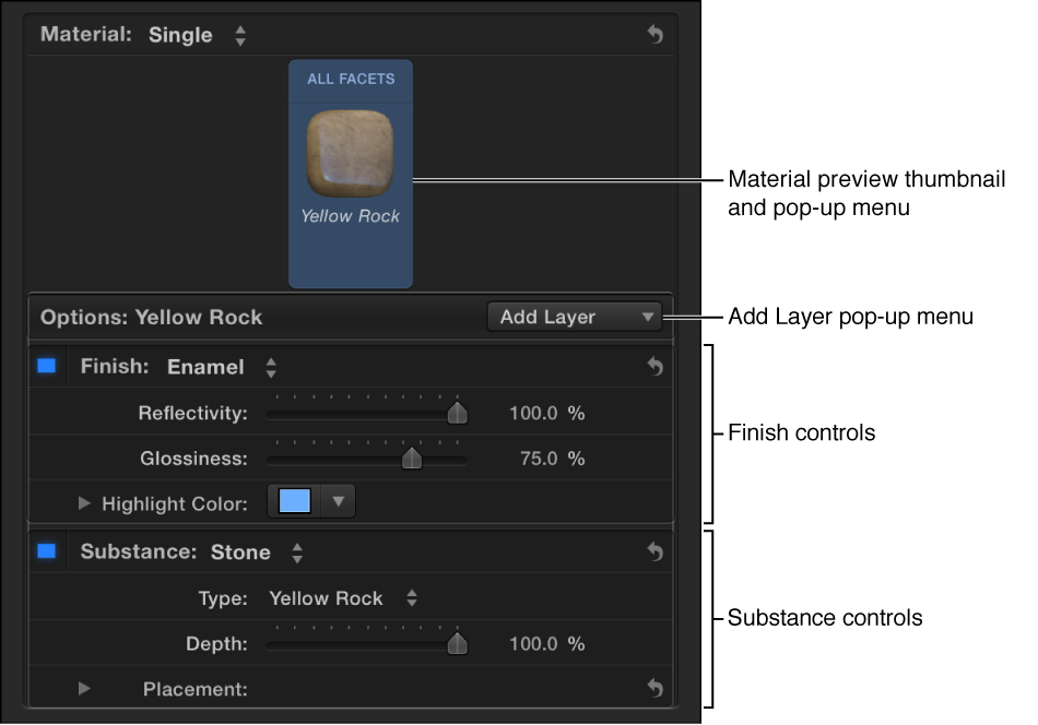 Material section of the Text inspector