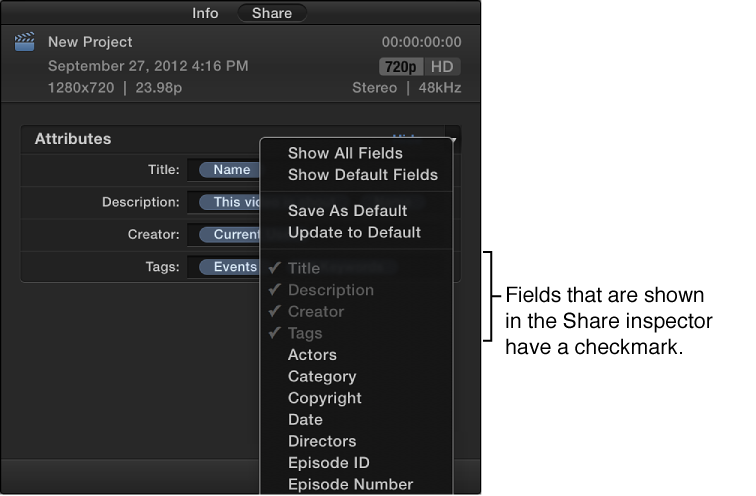 Options in Attributes pop-up menu in Share inspector