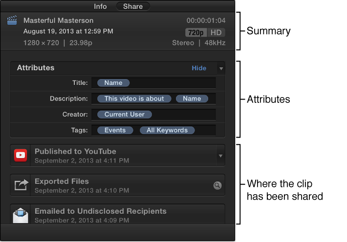 Share inspector showing summary information, share attributes, and where clip has been shared