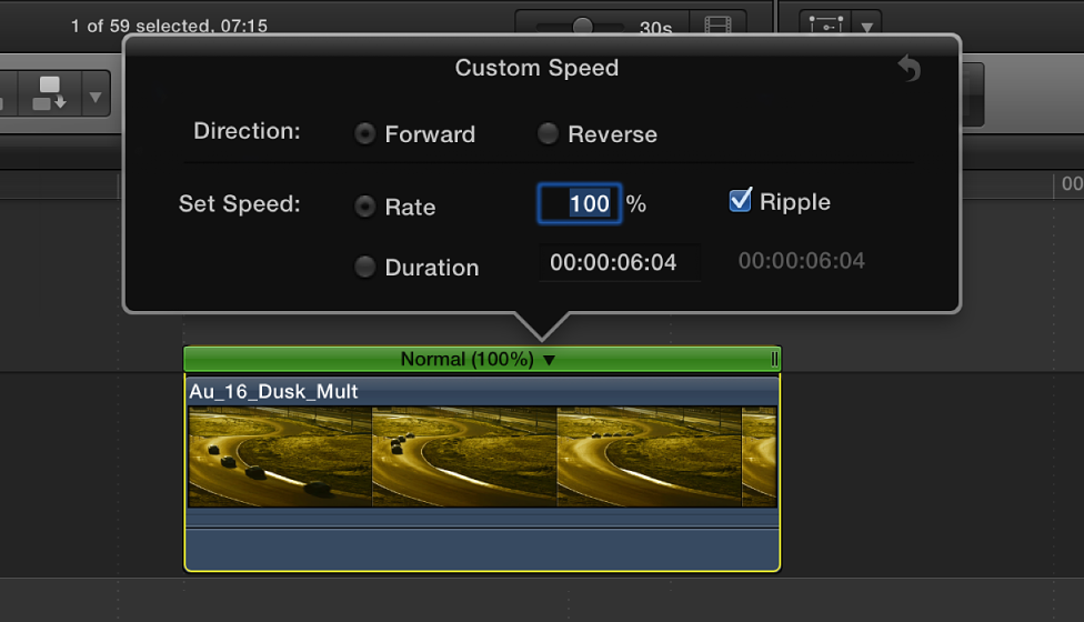 Timeline showing Custom Speed options above selected clip