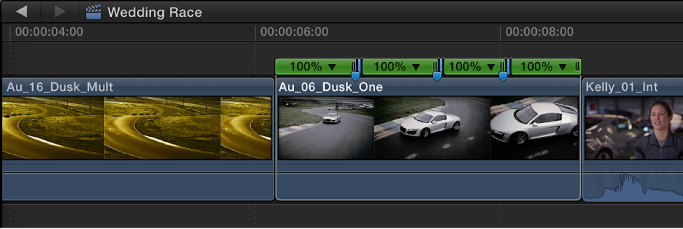 Timeline showing jump cuts added to clip at marker positions