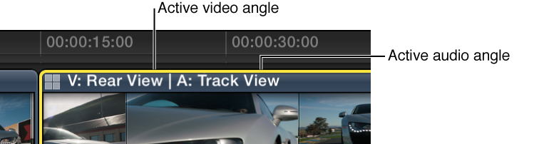 Multicam clip in Timeline showing names of active video and audio angles