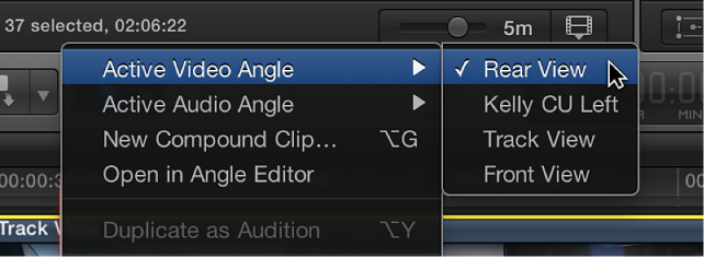 Active video angle being switched from shortcut menu in Timeline