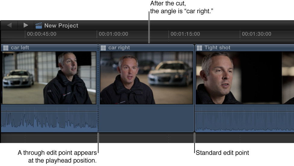 Multicam clip in Timeline after angle change, with black dotted line indicating where angle change occurs
