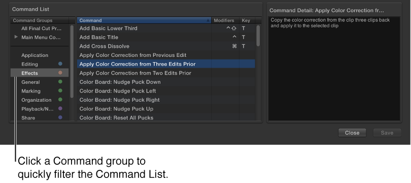 Command Editor window showing commands  and shortcuts for selected command group