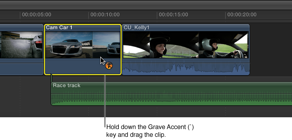 Clip being dragged in Timeline while Grave Accent key is held down