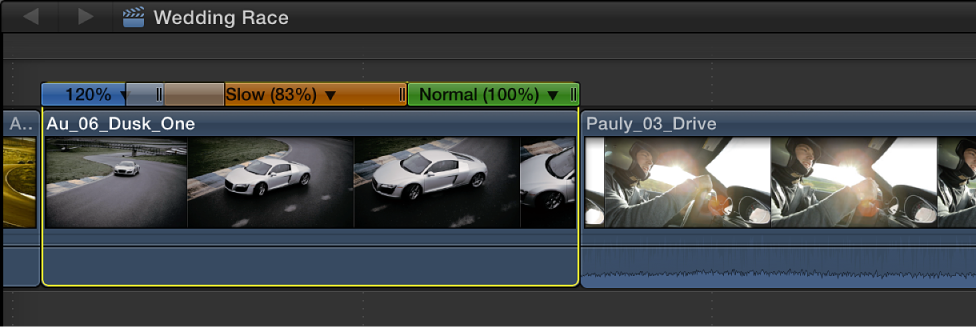 Timeline showing clip with three speed segments and one speed transition
