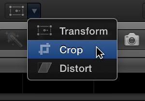 Crop menu item for accessing Trim, Crop, and Ken Burns controls
