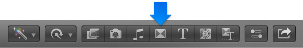 Transitions button in toolbar