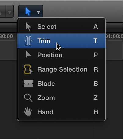 Trim tool in Tools pop-up menu