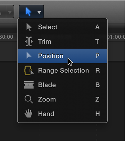 Position tool in Tools pop-up menu