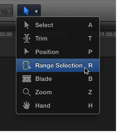 Range selection tool in Tools pop-up menu
