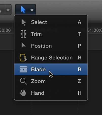 Blade tool in Tools pop-up menu