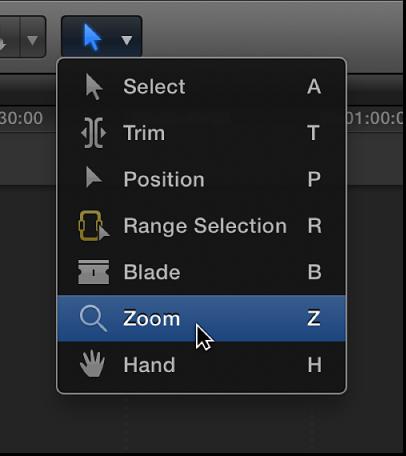 Zoom tool in Tools pop-up menu