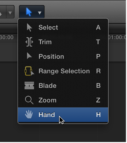 Hand tool in Tools pop-up menu
