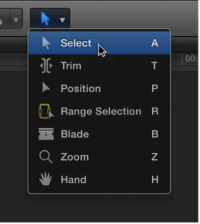 Select tool in Tools pop-up menu