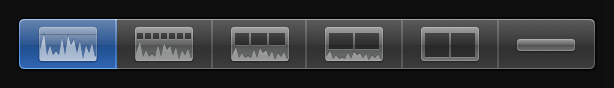 Far-left Clip Appearance button for displaying large audio waveforms only