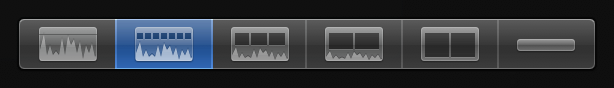 Second Clip Appearance button from left for displaying large audio waveforms and small filmstrips