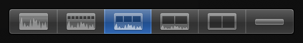 Third Clip Appearance button from left for displaying audio waveforms and filmstrips of equal size