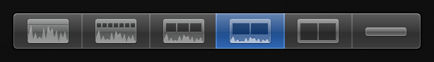 Third Clip Appearance button from right for displaying small audio waveforms and large filmstrips