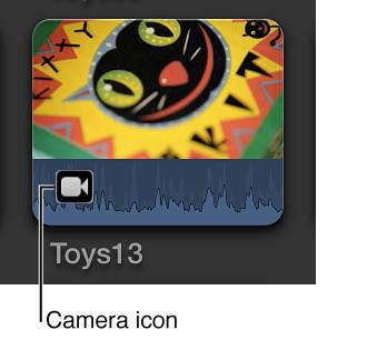 """部分导入的片段上的""""摄像机""""图标"""