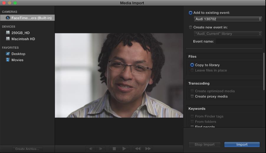 """显示所选摄像机中现场视频图像的""""媒体导入""""窗口"""