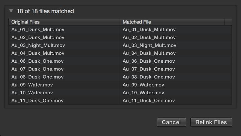 显示可重新链接的原始文件和匹配文件的表