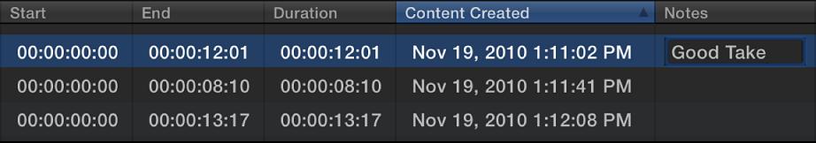 """在浏览器列表视图中编辑片段的""""备注""""栏"""