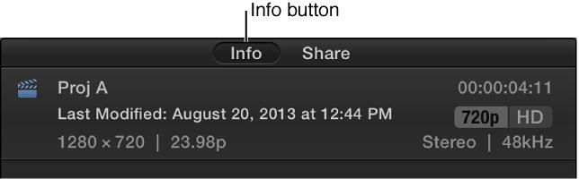 """""""检查器""""面板顶部的""""信息""""按钮"""