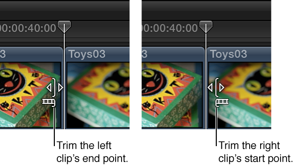 修剪图标会发生更改,显示将要修剪左片段还是右片段