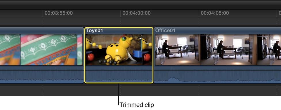 修剪到范围选择的开始点和结束点的片段