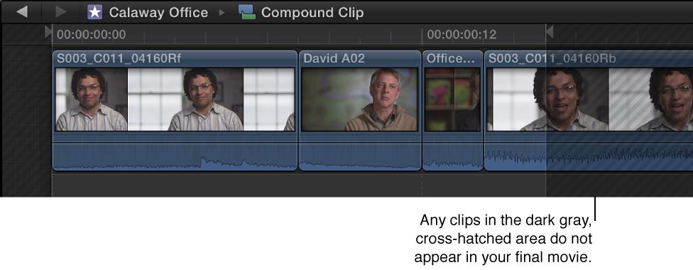 时间线中带有交叉影线区域的复合片段,表示该区域中的素材不会显示在最终影片中