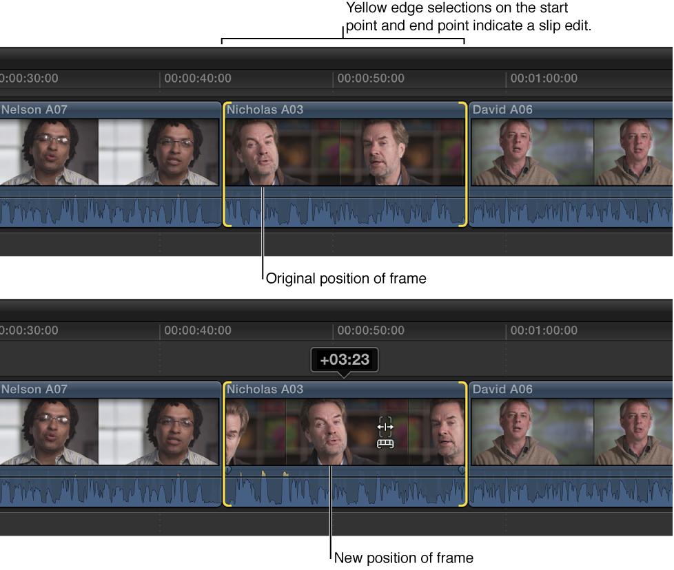 片段的位置和时间长度固定不变时,使用拆分编辑进行更改的片段开始点和结束点