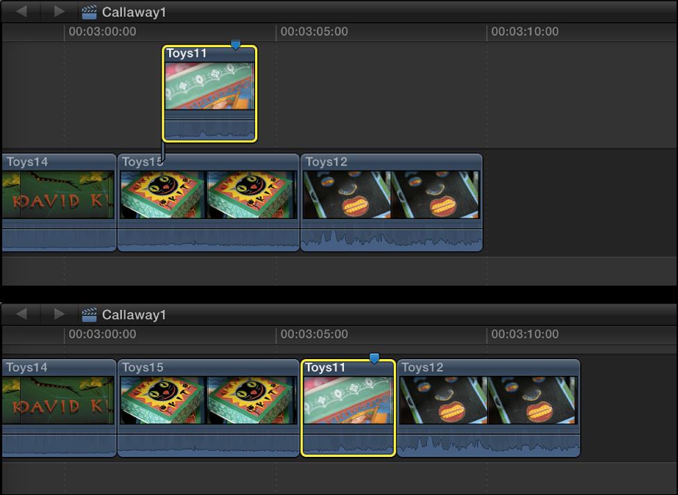 将连接的片段插入到时间线中的片段之间,导致后续片段向右波动