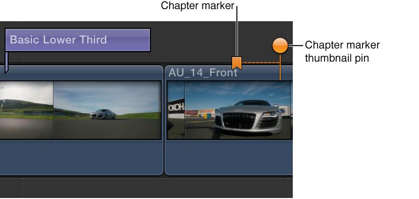 时间线中的片段上的章节标记和章节标记缩略图大头针
