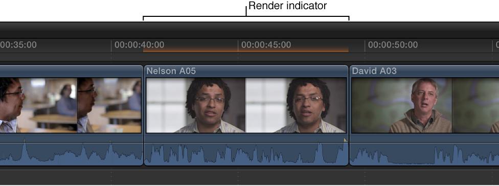 显示在时间线中片段上方的后台渲染指示器