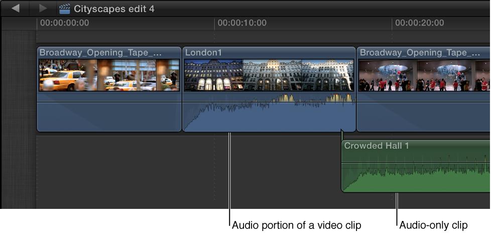 时间线中的纯音频片段和含音频部分的视频片段