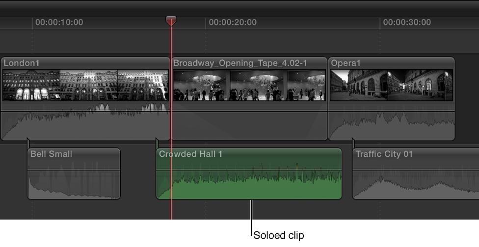 单独播放的片段在时间线中高亮显示,其他片段将变暗。