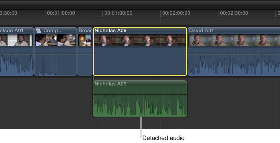 时间线中音频部分被分离后的片段