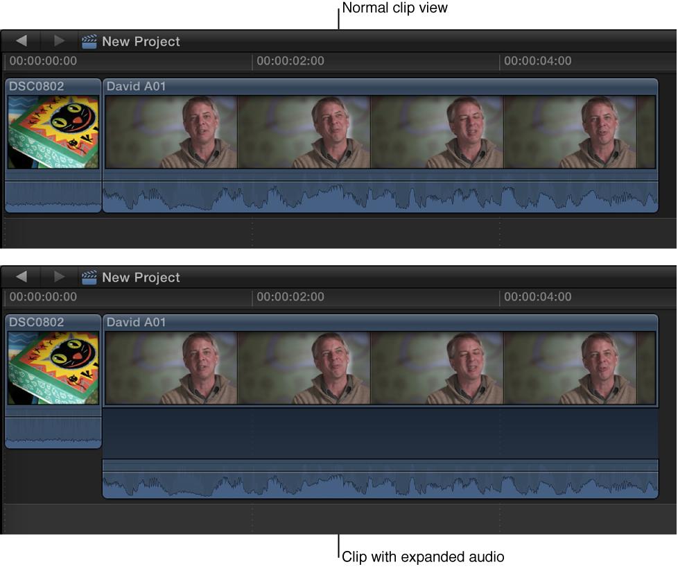 音频组件展开前和展开后时间线中的片段