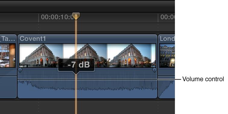 调整片段中的音量控制