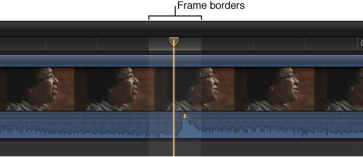 时间线中放大的片段,显示视频帧边框内的音频波形