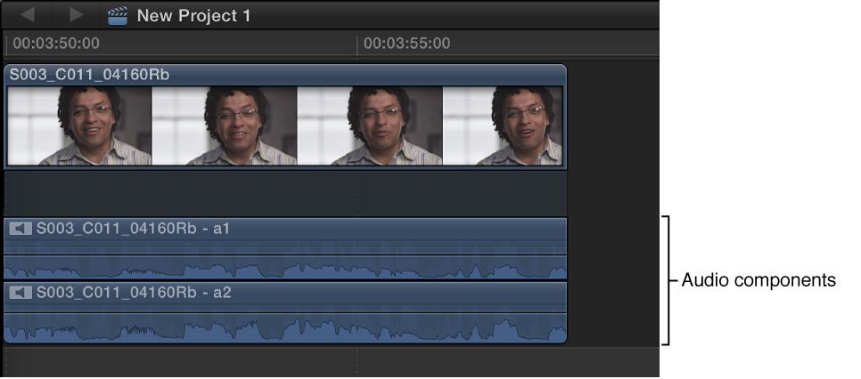 时间线中带有展开音频组件的片段