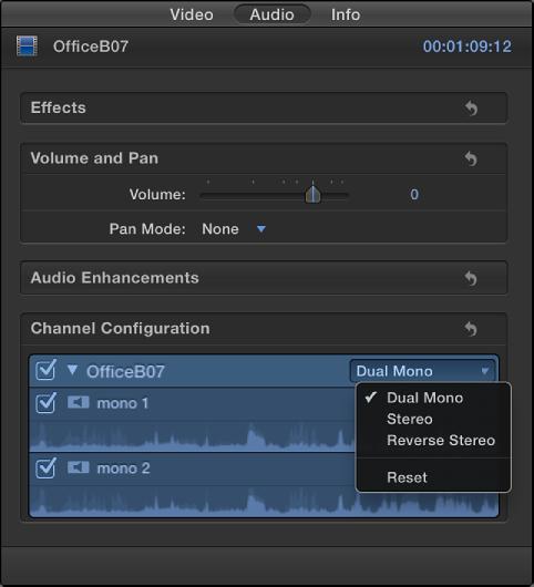 """""""音频""""检查器的""""通道配置""""部分,显示所选片段中的通道和波形"""