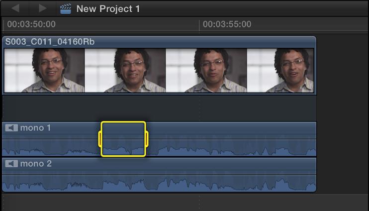 时间线的片段中音频组件中的所选范围