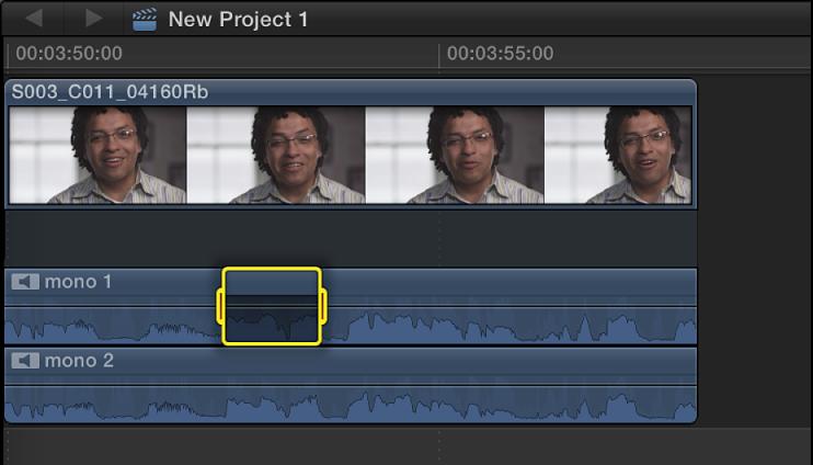 显示在音频组件中的所选范围已静音