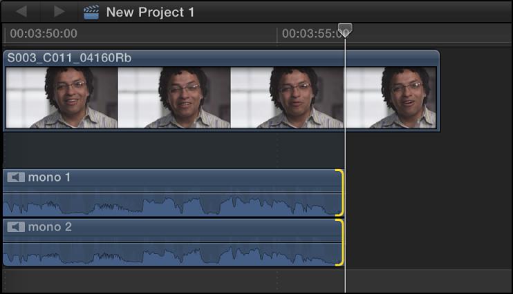 展开音频组件的编辑点,其中编辑点卷动到新位置,从而修剪音频