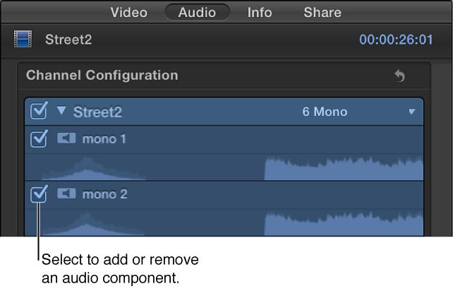 """""""音频""""检查器的""""通道配置""""部分,包含添加和移除音频组件的复选框"""